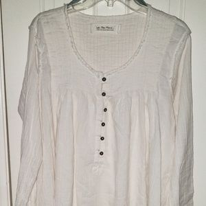 Free People Sand Dune Woven Henley Top
